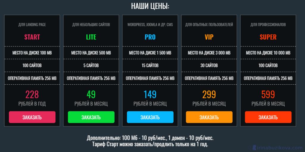Тарифы OFFERHOST.RU
