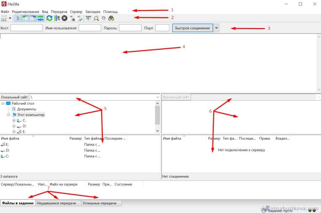 Интерфейс программы FileZilla
