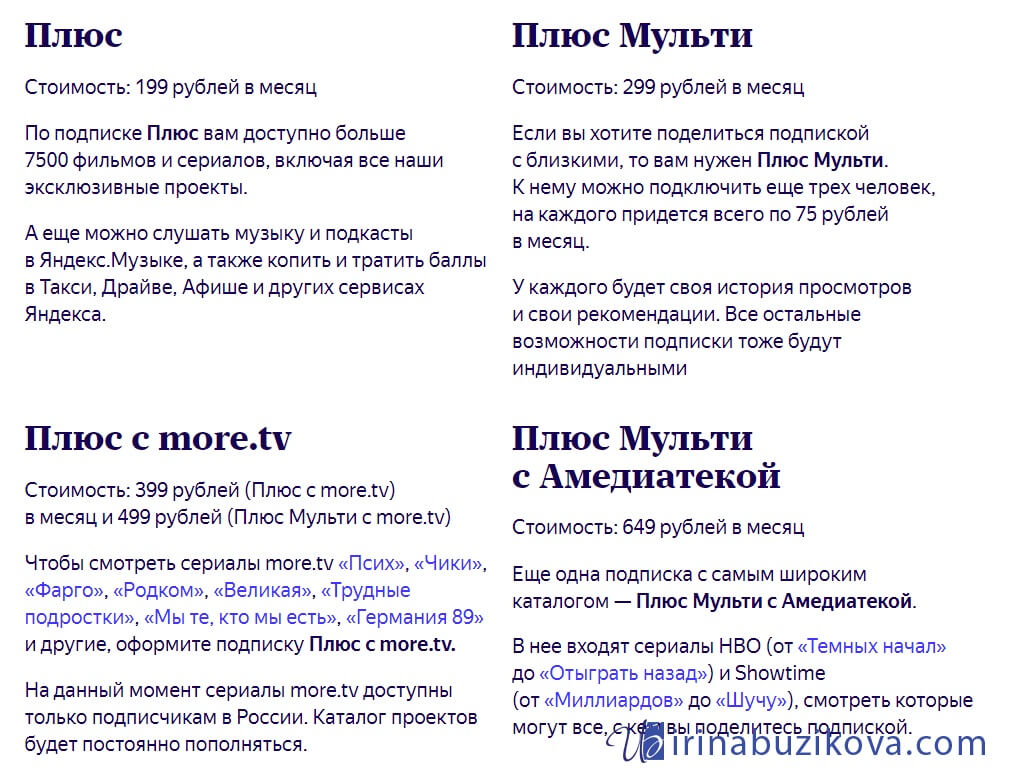 Все тарифы Яндекс Плюс